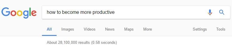 Cum sa fii mai productiv - rezultate cautare Google